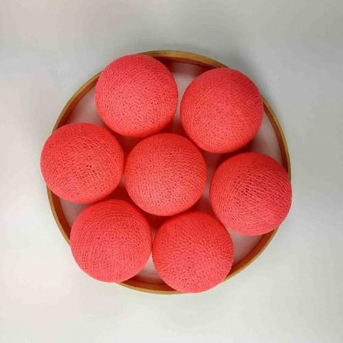 Декоративные шарики из ниток - coral pink