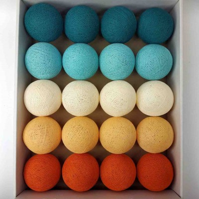 гірлянда кульки з ниток-aqua-orange