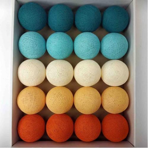 гирлянда шарики из ниток-aqua-orange