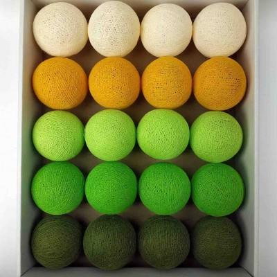 гірлянда кульки з ниток-khaki-neon-green