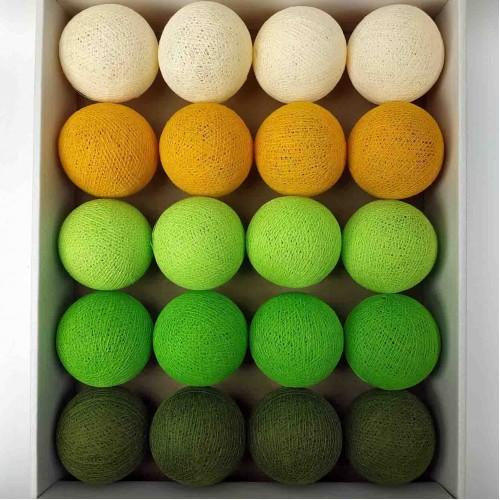 гирлянда шарики из ниток-khaki-neon-green