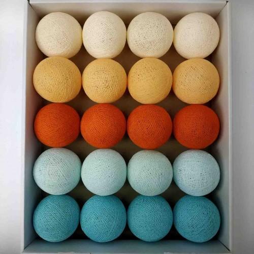 гирлянда шарики из ниток-light-aqua-soft-orange
