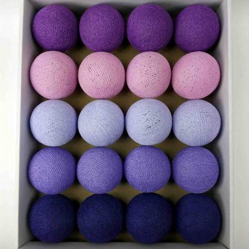 гирлянда шарики из ниток-violet-magenta