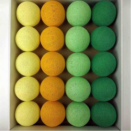 гирлянда шарики из ниток-soft-orange-soft-green