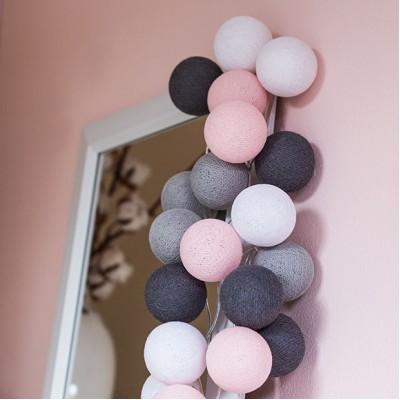 Гірлянда бавовняні ліхтарики Pink-Grey