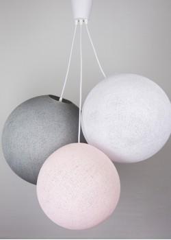 Хлопковый светильник из цветов Light Pink - White - Stone