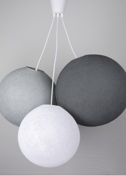 Хлопковый светильник из цветов White - Stone - Mid Grey